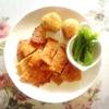 豚肉味噌漬け焼き、卵茶巾、大学芋、ピーマン