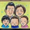 手描きの家族5人の似顔絵