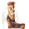 水彩画「Lion / Lutist」