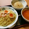 【日高屋】(期間限定)エビ辛とんこつつけ麺 半チャーハンセット ¥790