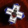 USAヴィンテージ十字架・ハートピンバッジ|キリスト教聖品THY KINGDOM COMブローチ[ACS-18-019]