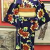 紺地向日葵柄浴衣×黄色地縞博多半幅帯