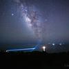 【天体撮影記 第139夜】 宮崎県 都井岬の灯台と星空と天の川、時々流れ星