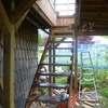 テラス作り 階段踊り場の内装だよ