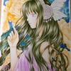 牡丹の姫と対の薔薇姫メイキング2:短い色鉛筆繋げてみました