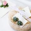 グリーンのハート刺繍と「サンタモニカの花束」イヤリングのご感想