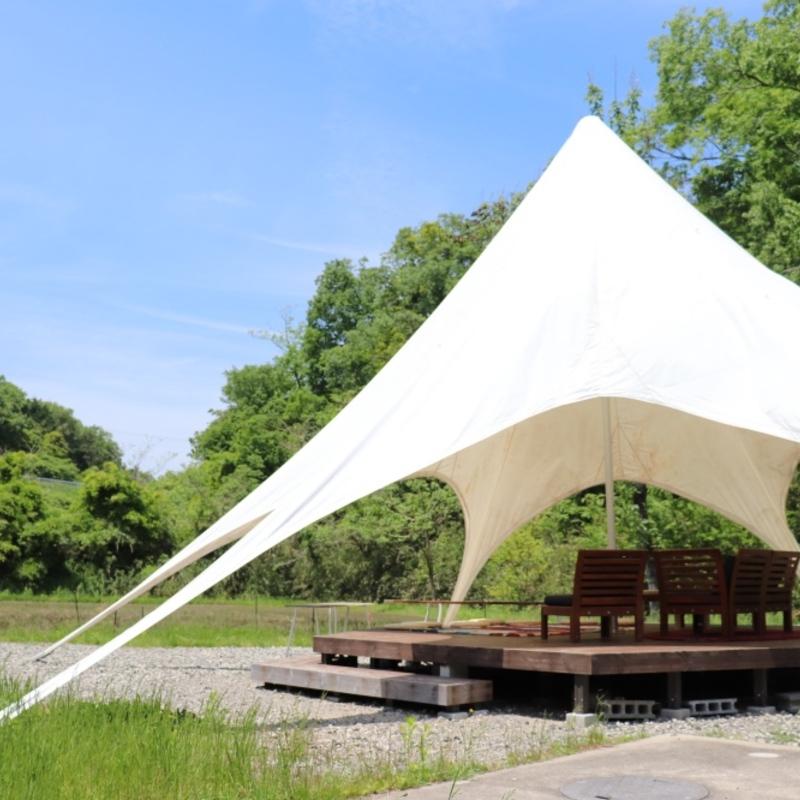 白亜のテントで風を感じるカフェタイム︎…京丹後のキコリ谷テラス