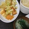 厚揚げ回鍋肉風、味噌汁、大根サラダ