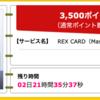 【ハピタス】REX CARDで期間限定3,500pt(3,500円)! 年会費無料! ショッピング条件なし!