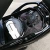 スカブのトランクの使い勝手と、ヘルメットホルダー