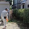 例大祭を前に境内整備と櫓(やぐら)建てのご奉仕