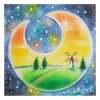 100均パステルで描いた「月のフレーム」
