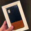 iPhone Xのツルツルフィルムと本革スマホケース