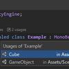 【Rider】Unity の MonoBehaviour を継承したクラスがどのシーンやプレハブで使用されているか検索できる