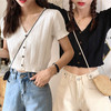 透かし編み ニット カーディガン ショート丈 韓国ファッション レディース  フリル ガーリー