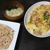 回鍋肉風、新玉ねぎサラダ、スープ