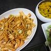 厚揚げ回鍋肉風、かぼちゃサラダ、味噌汁