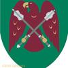 鷲の紋章。鎚矛を持って。