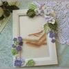 紫陽花と小花のカードフレーム