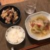 ごはん、つみれ汁、レンコンと豚肉の炒め物