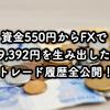 資金550円を1ヶ月FX運用で利益9,392円達成!取引履歴全公開しちゃいます!