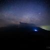 【天体撮影記 第122夜】 熊本県 杵島岳から撮る阿蘇山の火映と夏の天の川のかけら