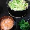 もつ煮込み、ホウレン草おひたし、味噌汁