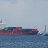 コンテナ船入港:待ち受け連れ添うタグボート
