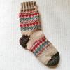 レトロな編み込み靴下、片足完成!