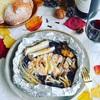 きのこ香る豚肉のホイル焼き*ブルーベリーソース