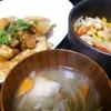 豚の甘辛、大豆サラダ、味噌汁