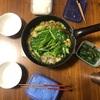 福岡物産展で買ったもつ鍋、菜の花の瞬間蒸し