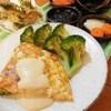 豆腐と葱とカニ蒲鉾の厚焼きオムレツ