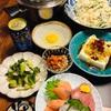 肉豆腐と、ラッキーな刺し盛りで晩酌。