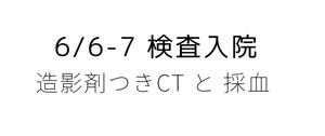 6月6-7日*検査入院(造影CTと採血)