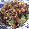 幸運な病のレシピ( 761 )夜:青椒肉絲、タラバターソテー、地場小鯛刺身、汁(鳥スープとき卵)