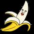 皮をめくったら顔があるバナナ のイラスト