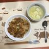 豚丼甘酢タレとコーンスープ