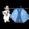 テントが凍って驚く猫の無料イラスト