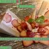 🚩外食日記(561)    宮崎   「マガリ(Magari)」②より、【ストロベリーディップフルーツサンド(ハーフ)】‼️