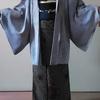 龍郷柄大島紬+墨流し染めの京袋帯+紗織りの墨流し染めの羽織