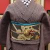 ウール市松着物×薔薇織名古屋帯