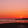 釧路の夕陽と幣舞橋と青い空