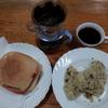 フィッシュハムバーガーとキャベツの卵焼き