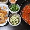 いかえび唐揚げ、ラタトゥイユ、ズッキーニナムル、きゅうり酢の物、味噌汁