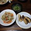 豆苗入り野菜炒めと魚のフライ