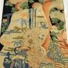 帯(名古屋帯) 黒地・染と刺繍・アンティーク