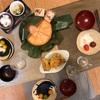 富山展で買ったマスの押し寿司、イカ天、ミニトマト、汁?