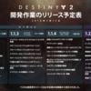 【Destiny2】開発作業のリリース予定表が更新3月28日に1.1.4配信/週間クルーシブルプレイリスト追加も