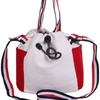 巾着袋バッグ キャンバス 小さめ カジュアル トリコロール ミニバッグ | AngelMoon(エンジェルムーン)